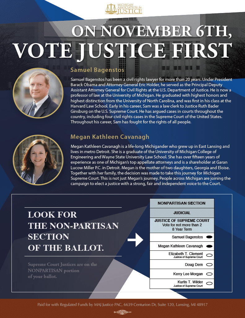 Vote for Cavanagh and Bagenstos for Michigan Supreme Court